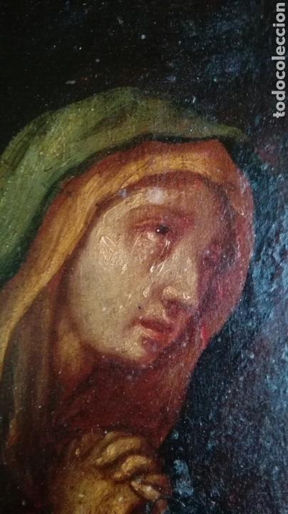 Arte: Virgen dolorosa s.XVIII? Nuevas fotos ver oleo tabla 35cmx30cm - Foto 7 - 96751728