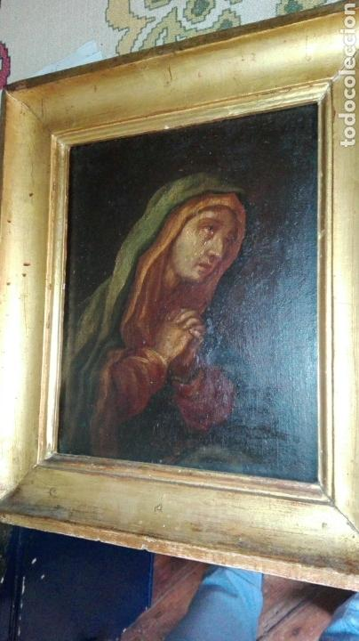 Arte: Virgen dolorosa s.XVIII? Nuevas fotos ver oleo tabla 35cmx30cm - Foto 8 - 96751728