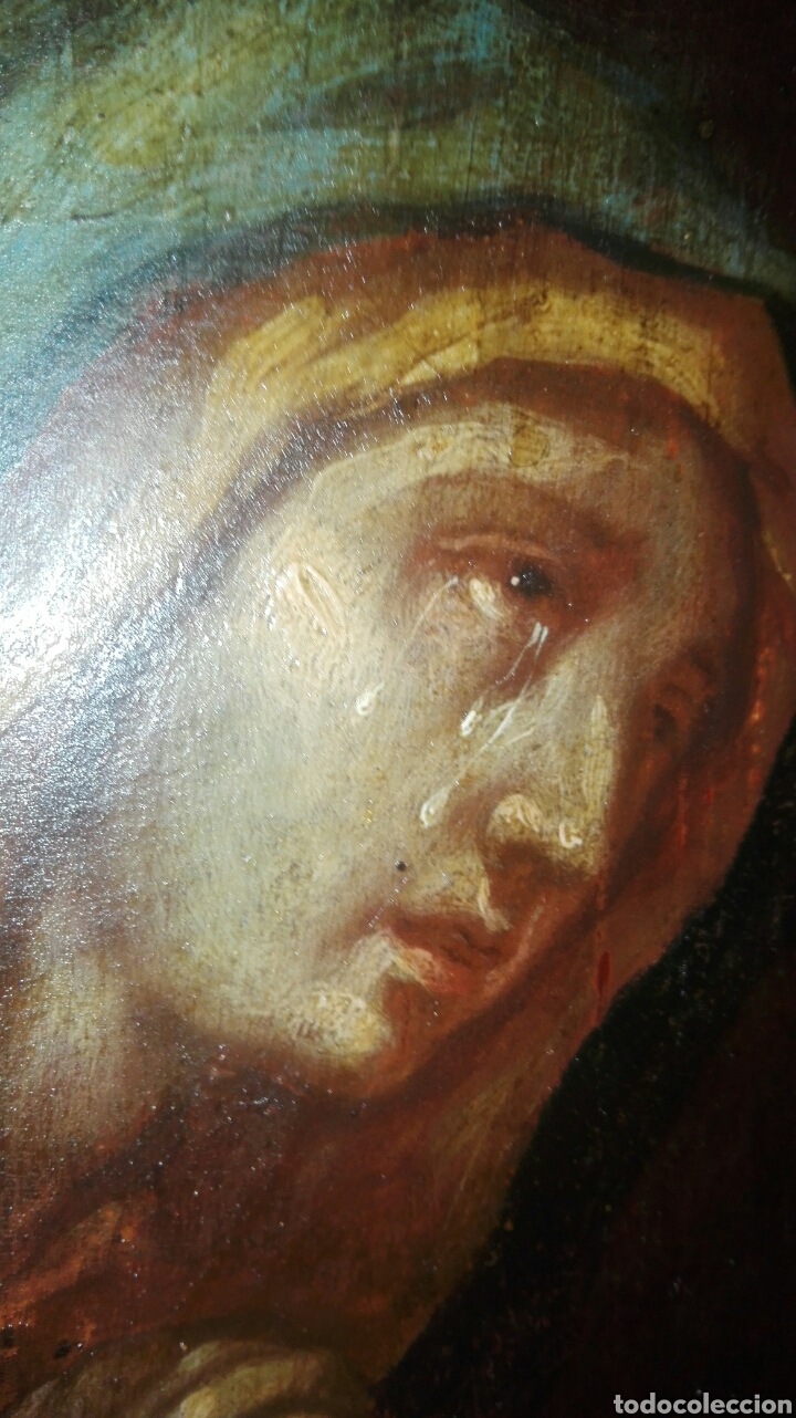 Arte: Virgen dolorosa s.XVIII? Nuevas fotos ver oleo tabla 35cmx30cm - Foto 9 - 96751728