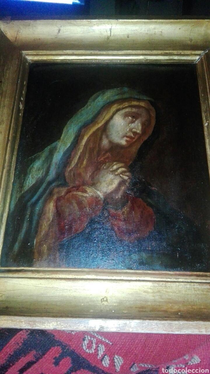 Arte: Virgen dolorosa s.XVIII? Nuevas fotos ver oleo tabla 35cmx30cm - Foto 10 - 96751728