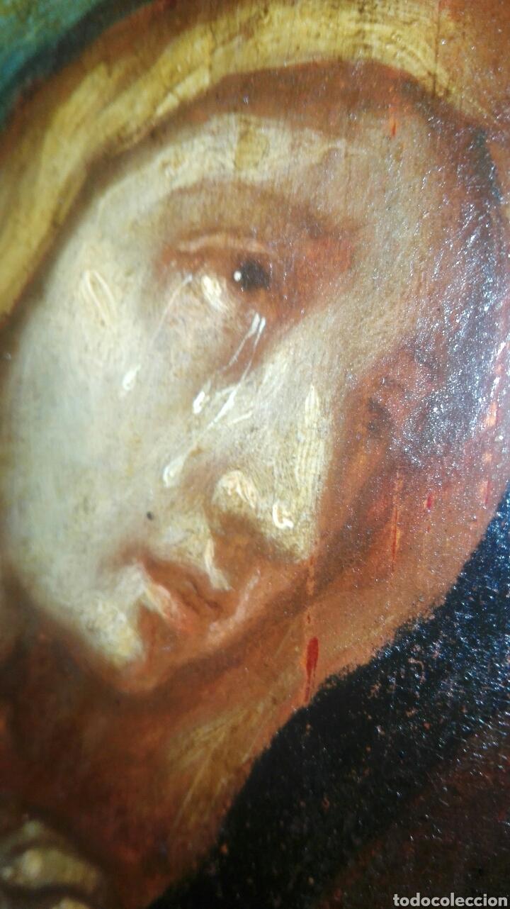 Arte: Virgen dolorosa s.XVIII? Nuevas fotos ver oleo tabla 35cmx30cm - Foto 11 - 96751728