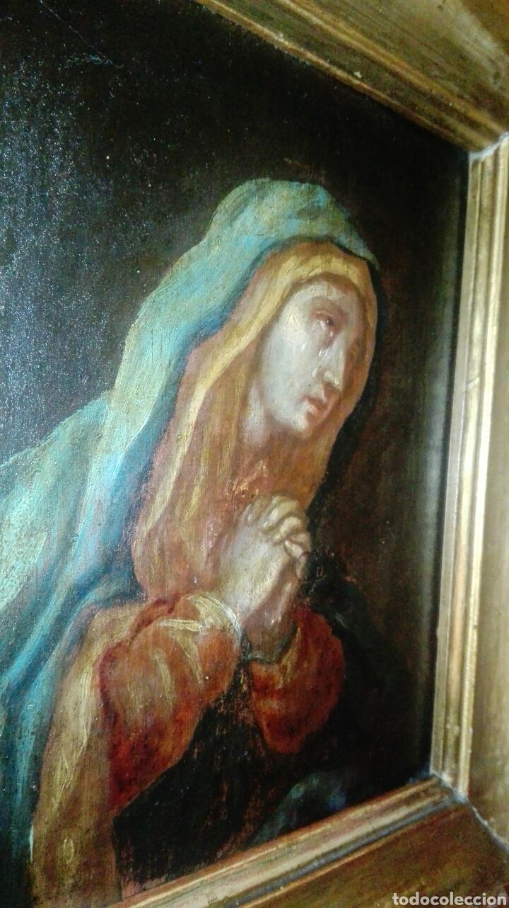 Arte: Virgen dolorosa s.XVIII? Nuevas fotos ver oleo tabla 35cmx30cm - Foto 12 - 96751728