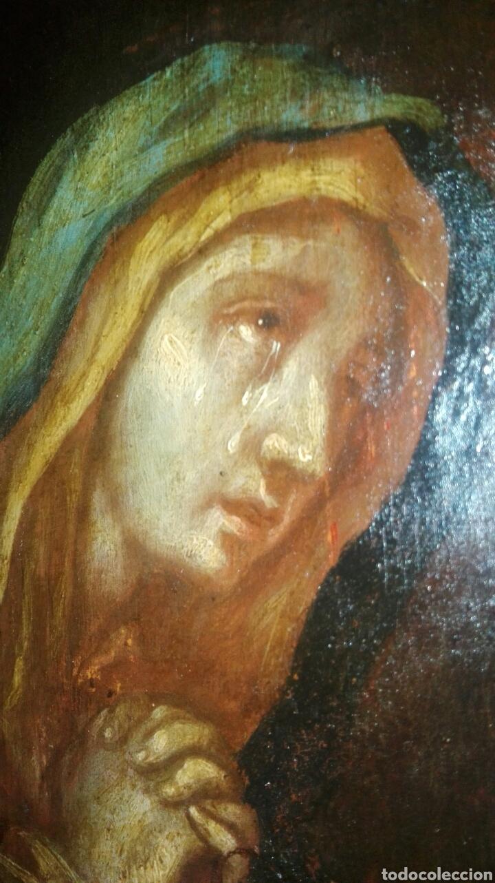 Arte: Virgen dolorosa s.XVIII? Nuevas fotos ver oleo tabla 35cmx30cm - Foto 14 - 96751728