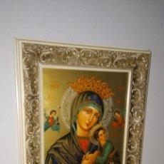 Arte: ANTIGUO ICONO EN LAMINA COBRE DE LA VIRGEN.. Lote 111190700