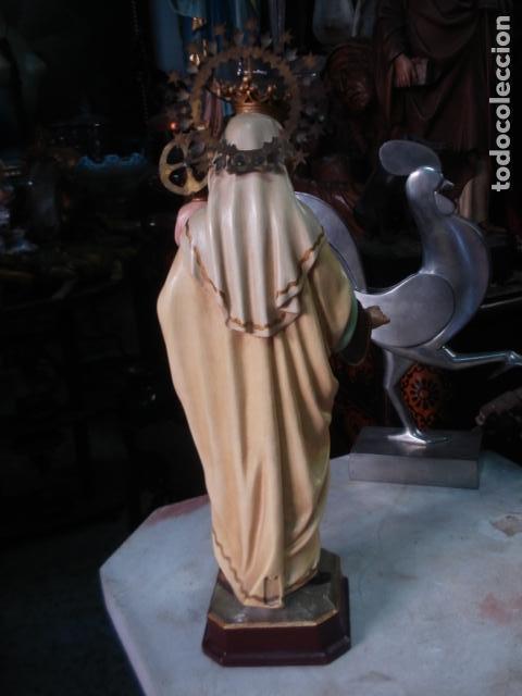 Arte: Virgen del Carmen sellada de estuco de Olot coronas caladas - Foto 2 - 111269635