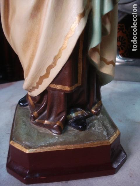 Arte: Virgen del Carmen sellada de estuco de Olot coronas caladas - Foto 3 - 111269635