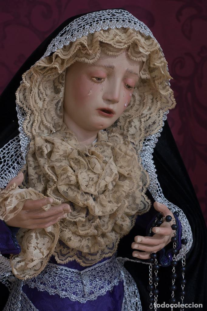 Arte: Virgen Dolorosa de 70 ctm de candelero magnificamente vestida - Foto 5 - 111326627