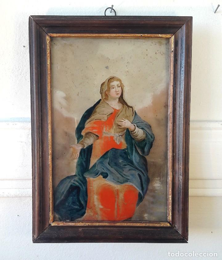 PINTURA SOBRE VIDRIO DEL SIGLO XVIII (Arte - Arte Religioso - Pintura Religiosa - Oleo)