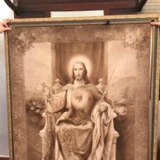 Arte: TAPIZ PINTADO SAGRADO CORAZON DE JESUS. Lote 111554711