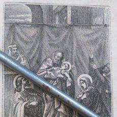 Arte: ANTIGUO GRABADO AÑO 1880 MINIATURA DOBLE CARA - LA PROFESIA DE SIMON Y LA HUIDA A EGIPTO. Lote 111566035
