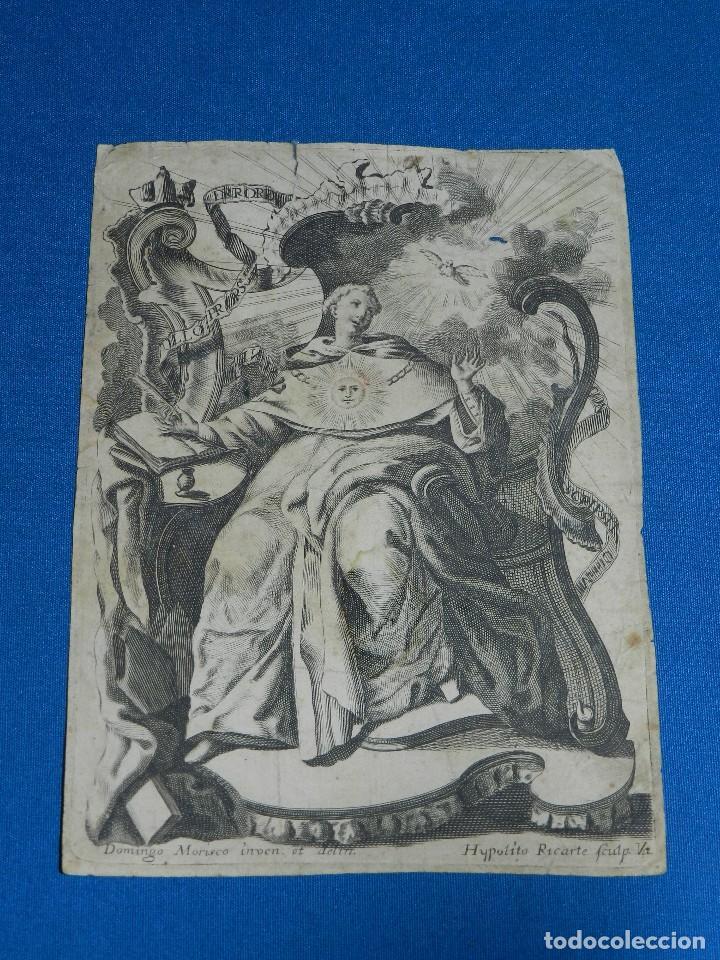 (ALB) GRABADO RELIGIOSO - DOMINGO MORISCO INVEN ET DELIN , HYPOLITO RICARTE , GRABADO DEL SXVIII (Arte - Arte Religioso - Grabados)