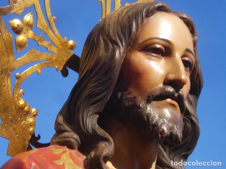 Arte: SAGRADO CORAZÓN TALLA DE MADERA DOMINGO PERIS ESCULTOR GRANDES MEDIDAS 1M78CM - Foto 4 - 90790940