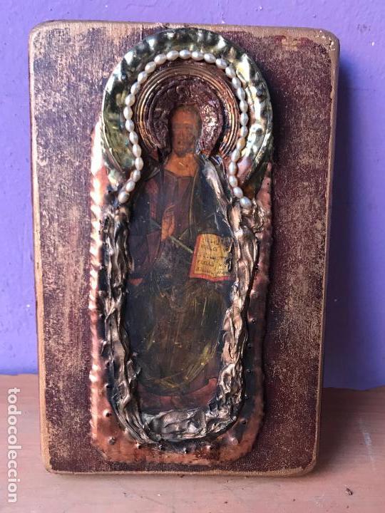 PEQUEÑO ICONO RUSO DECORADO CON LATON O BRONCE (Arte - Arte Religioso - Iconos)