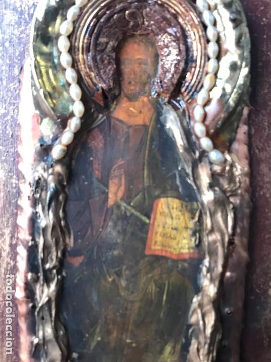 Arte: Pequeño icono ruso decorado con laton o bronce - Foto 3 - 111715771