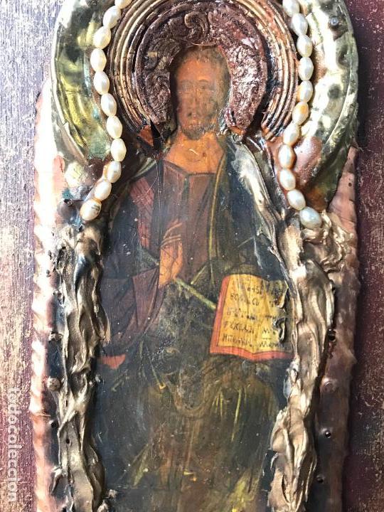 Arte: Pequeño icono ruso decorado con laton o bronce - Foto 4 - 111715771