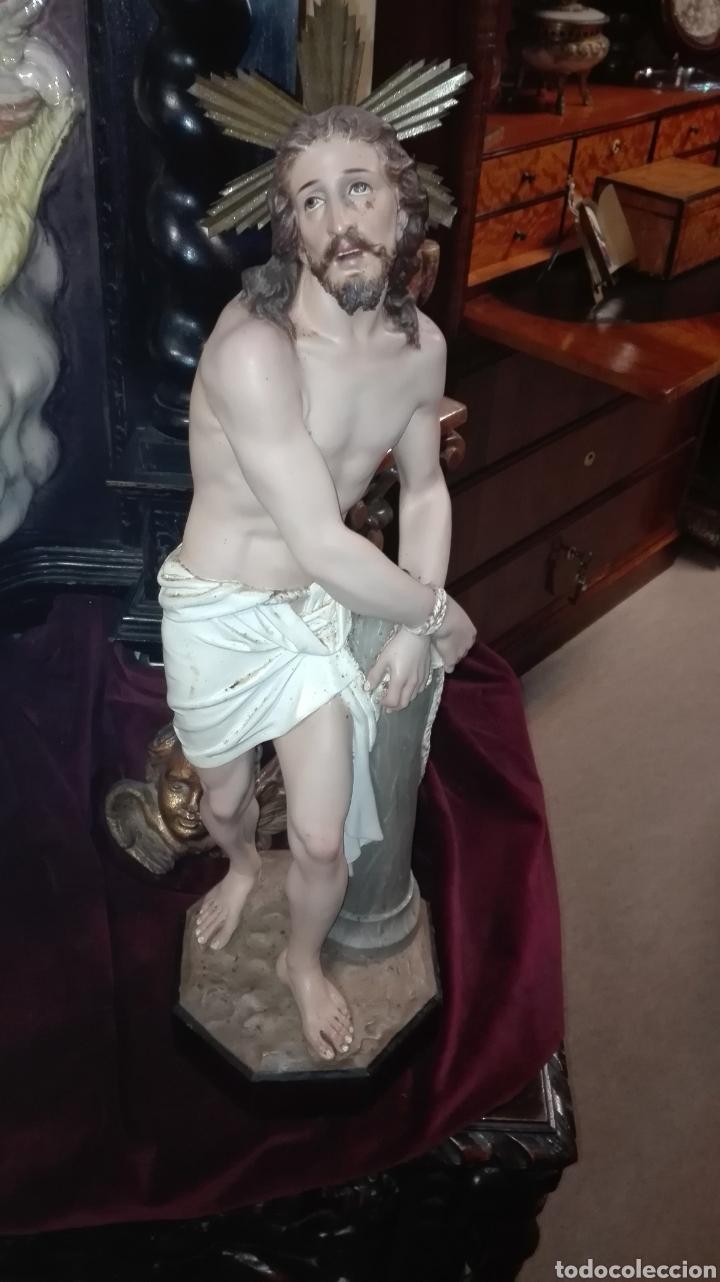 PRECIOSA ESCULTURA CRISTO ATADO A LA COLUMNA - ARTE CRISTIANO OLOT - (Arte - Arte Religioso - Escultura)
