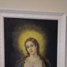 Arte - oleo Virgen Maria, sobre lienzo firmado,medida del lienzo 56 x 80, años 60/70 aproximadamente - 98624775