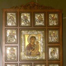 Arte: RETABLO ICONOS RELIGIOSOS BIZANTINO EN PLATA. Lote 111960482