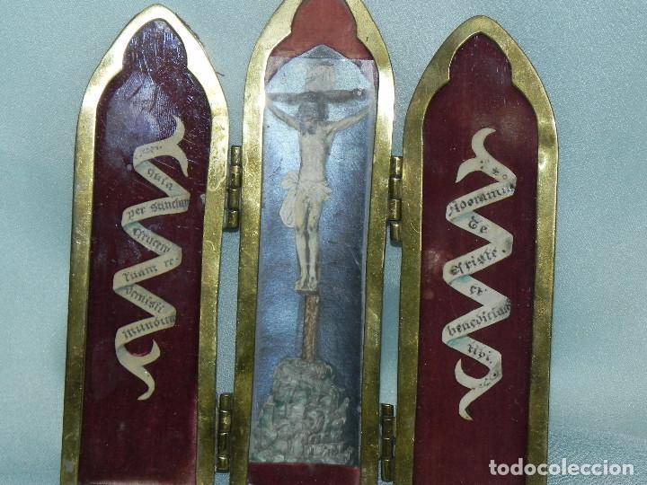 Arte: ** ANTIGUA SACRA RELIGIOSA TRIPTICO DE BRONCE FINALES DEL XIX PRINCIPIOS XX ** - Foto 2 - 112007271