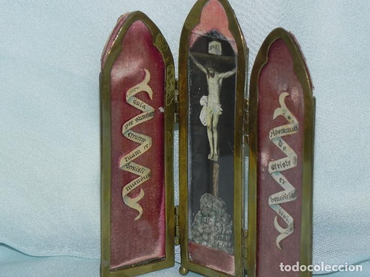 Arte: ** ANTIGUA SACRA RELIGIOSA TRIPTICO DE BRONCE FINALES DEL XIX PRINCIPIOS XX ** - Foto 3 - 112007271