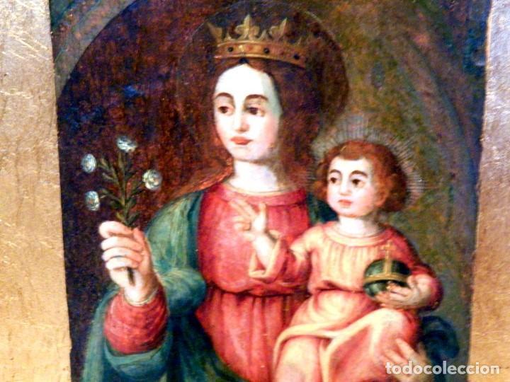 Arte: Pintura Virgen con Niño, Pintura Religiosa, Óleo sobre Tabla, Niño de la Bola, Siglo XVI, España - Foto 2 - 112076703