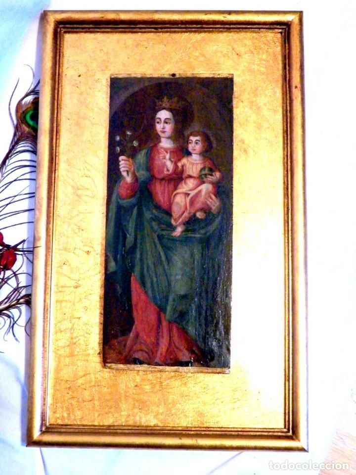 Arte: Pintura Virgen con Niño, Pintura Religiosa, Óleo sobre Tabla, Niño de la Bola, Siglo XVI, España - Foto 3 - 112076703