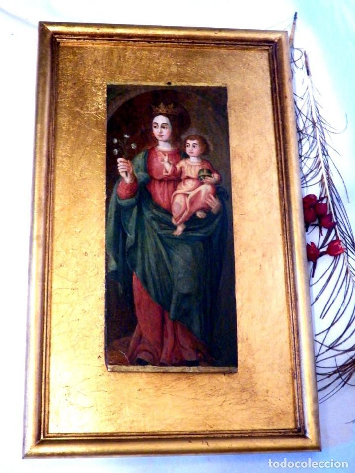 Arte: Pintura Virgen con Niño, Pintura Religiosa, Óleo sobre Tabla, Niño de la Bola, Siglo XVI, España - Foto 4 - 112076703