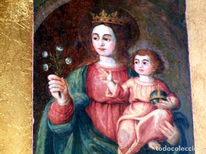 Arte: Pintura Virgen con Niño, Pintura Religiosa, Óleo sobre Tabla, Niño de la Bola, Siglo XVI, España - Foto 8 - 112076703