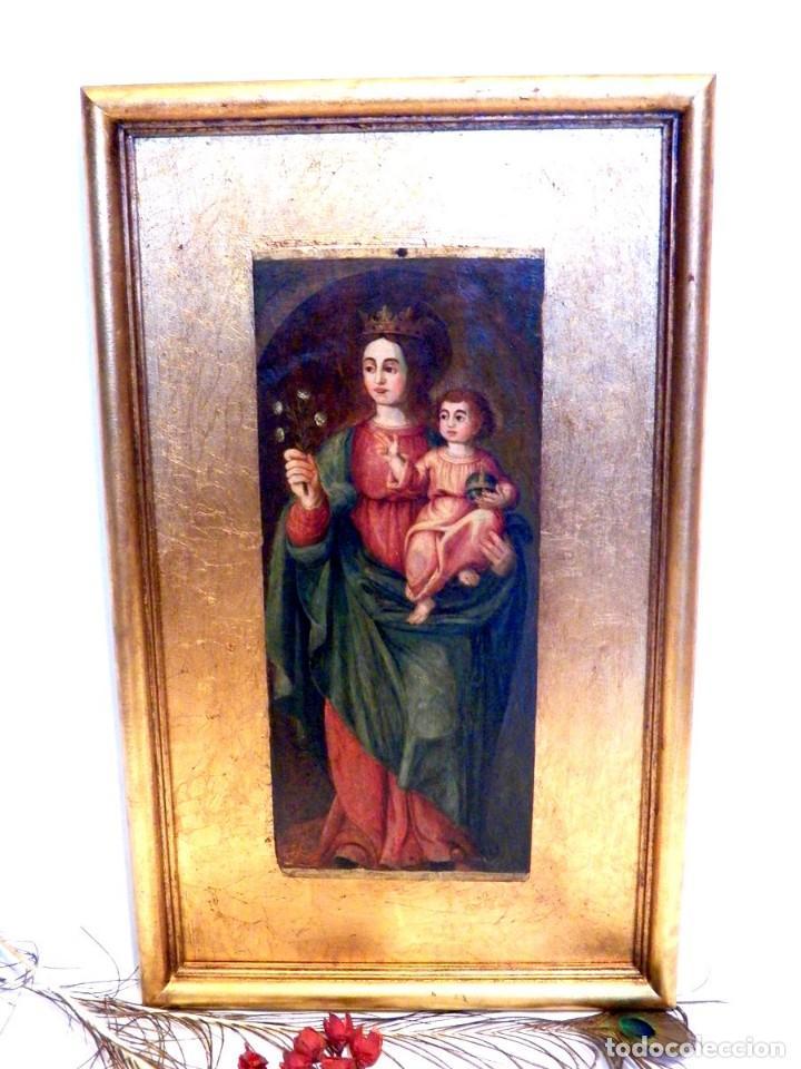 Arte: Pintura Virgen con Niño, Pintura Religiosa, Óleo sobre Tabla, Niño de la Bola, Siglo XVI, España - Foto 9 - 112076703