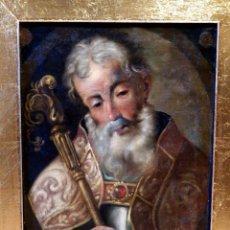 Arte: ÓLEO SOBRE LIENZO SANTO, PINTURA RELIGIOSA , PADRE DE LA IGLESIA, PINTURA SANTO SIGLO XVII, BARROCO. Lote 112077539