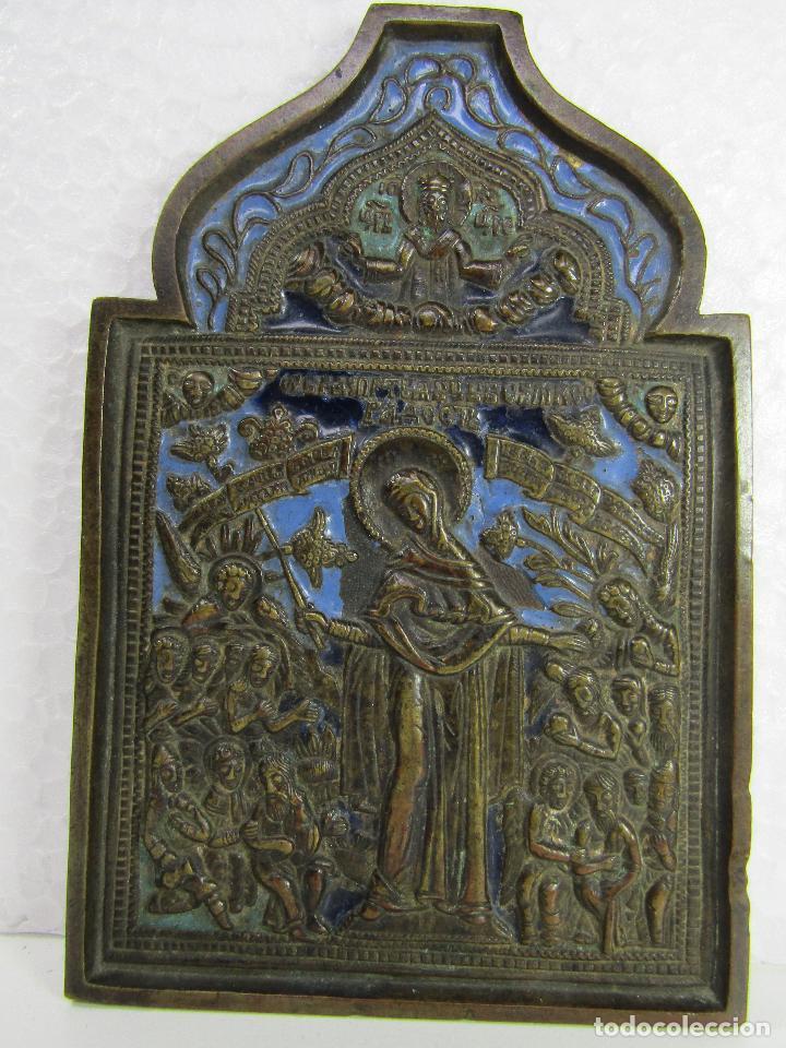 ICONO DE VIAJE EN BRONCE SIGLO XVIII (Arte - Arte Religioso - Iconos)