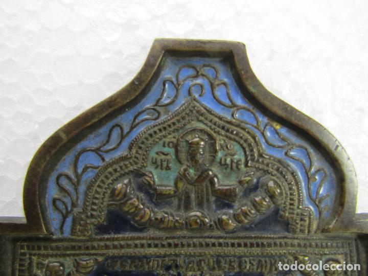 Arte: ICONO DE VIAJE EN BRONCE SIGLO XVIII - Foto 3 - 112214795