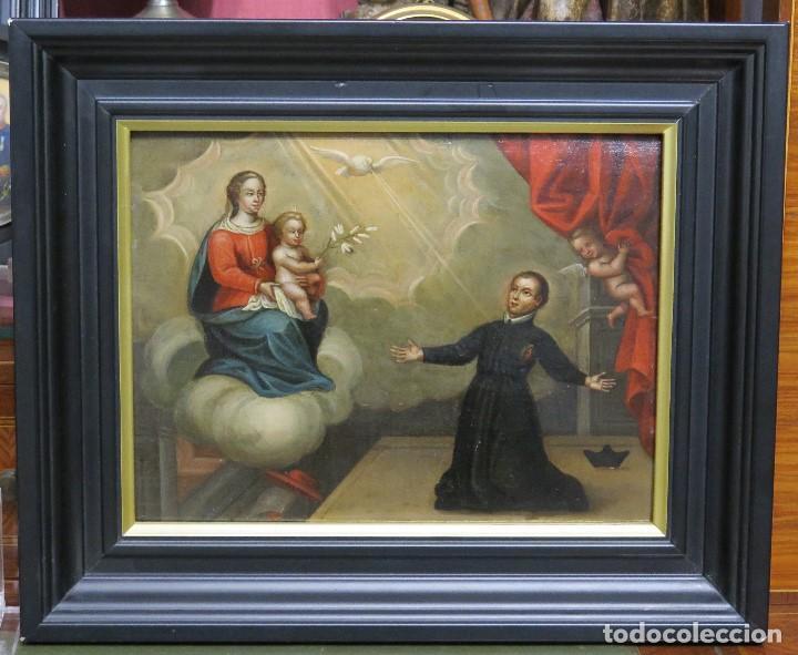 PRECIOSA APARACION DE LA VIRGEN A SANTO JESUITA. OLEO S/ TABLA. SIGLO XVII-XVIII (Arte - Arte Religioso - Pintura Religiosa - Oleo)