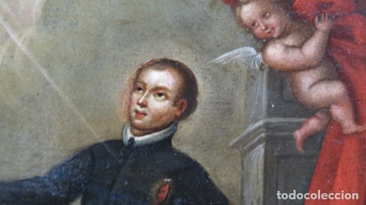 Arte: PRECIOSA APARACION DE LA VIRGEN A SANTO JESUITA. OLEO S/ TABLA. SIGLO XVII-XVIII - Foto 2 - 112292851