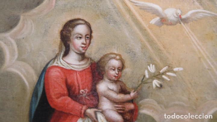 Arte: PRECIOSA APARACION DE LA VIRGEN A SANTO JESUITA. OLEO S/ TABLA. SIGLO XVII-XVIII - Foto 3 - 112292851