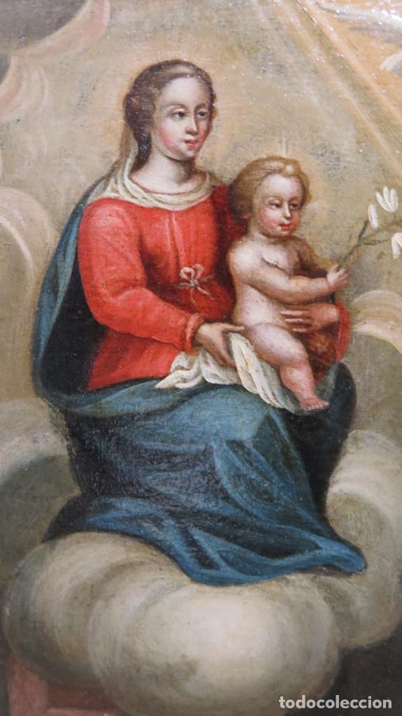 Arte: PRECIOSA APARACION DE LA VIRGEN A SANTO JESUITA. OLEO S/ TABLA. SIGLO XVII-XVIII - Foto 4 - 112292851