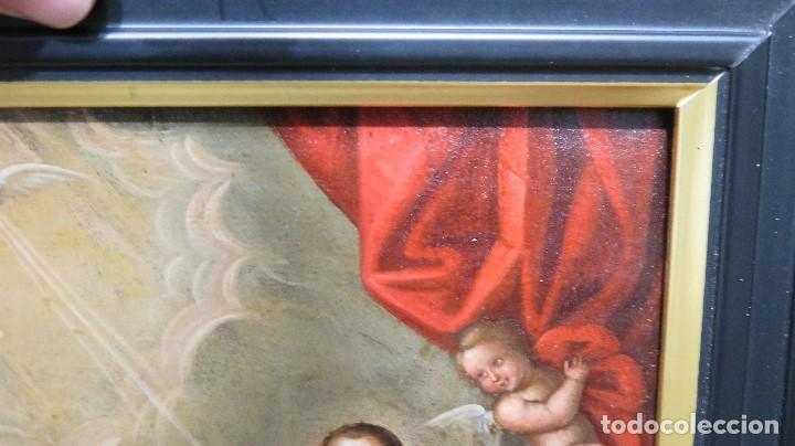 Arte: PRECIOSA APARACION DE LA VIRGEN A SANTO JESUITA. OLEO S/ TABLA. SIGLO XVII-XVIII - Foto 6 - 112292851