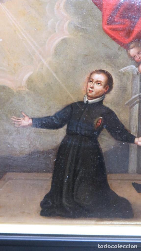 Arte: PRECIOSA APARACION DE LA VIRGEN A SANTO JESUITA. OLEO S/ TABLA. SIGLO XVII-XVIII - Foto 7 - 112292851