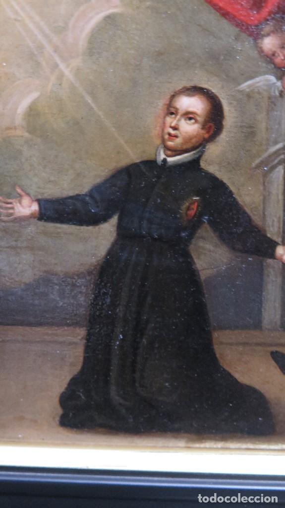 Arte: PRECIOSA APARACION DE LA VIRGEN A SANTO JESUITA. OLEO S/ TABLA. SIGLO XVII-XVIII - Foto 8 - 112292851