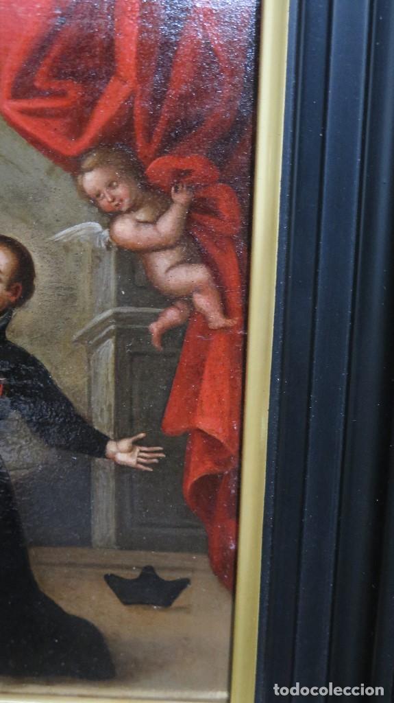 Arte: PRECIOSA APARACION DE LA VIRGEN A SANTO JESUITA. OLEO S/ TABLA. SIGLO XVII-XVIII - Foto 9 - 112292851