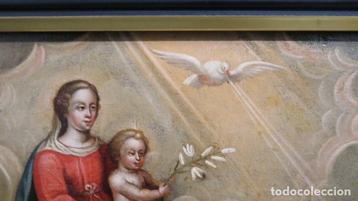 Arte: PRECIOSA APARACION DE LA VIRGEN A SANTO JESUITA. OLEO S/ TABLA. SIGLO XVII-XVIII - Foto 10 - 112292851
