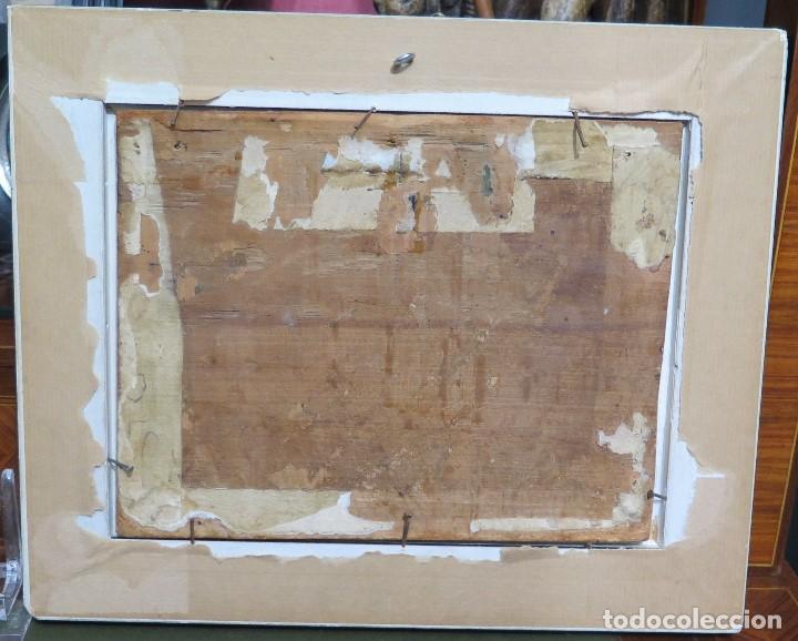 Arte: PRECIOSA APARACION DE LA VIRGEN A SANTO JESUITA. OLEO S/ TABLA. SIGLO XVII-XVIII - Foto 11 - 112292851