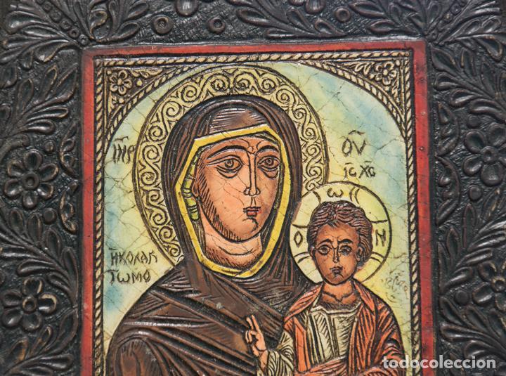 Arte: Icono religioso de la virgen con el niño - Foto 2 - 112306523
