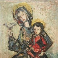 Arte: VÍRGEN CON NIÑO POR ENRIQUE SUÁREZ ALBA (VITORIA 1921-1987). Lote 112381335