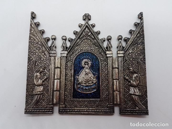 Arte: Tríptico antiguo en metal plateado de Nuestra Señora de los llantos de estilo gótico, Albacete - Foto 3 - 112397759
