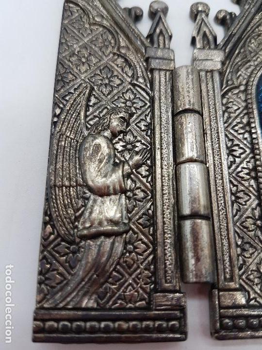 Arte: Tríptico antiguo en metal plateado de Nuestra Señora de los llantos de estilo gótico, Albacete - Foto 4 - 112397759