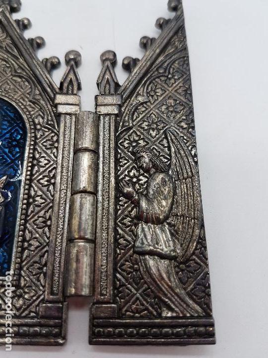 Arte: Tríptico antiguo en metal plateado de Nuestra Señora de los llantos de estilo gótico, Albacete - Foto 6 - 112397759