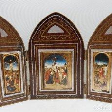 Art: PRECIOSO TRÍPTICO RELIGIOSO ANTIGUO DE MADERA CON IMÁGENES DE CRISTO.. Lote 112404375