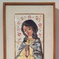 Arte: VIRGEN ESMALTADA EN AZULEJOS, FIRMADA POR PALENCIANO. Lote 112423719