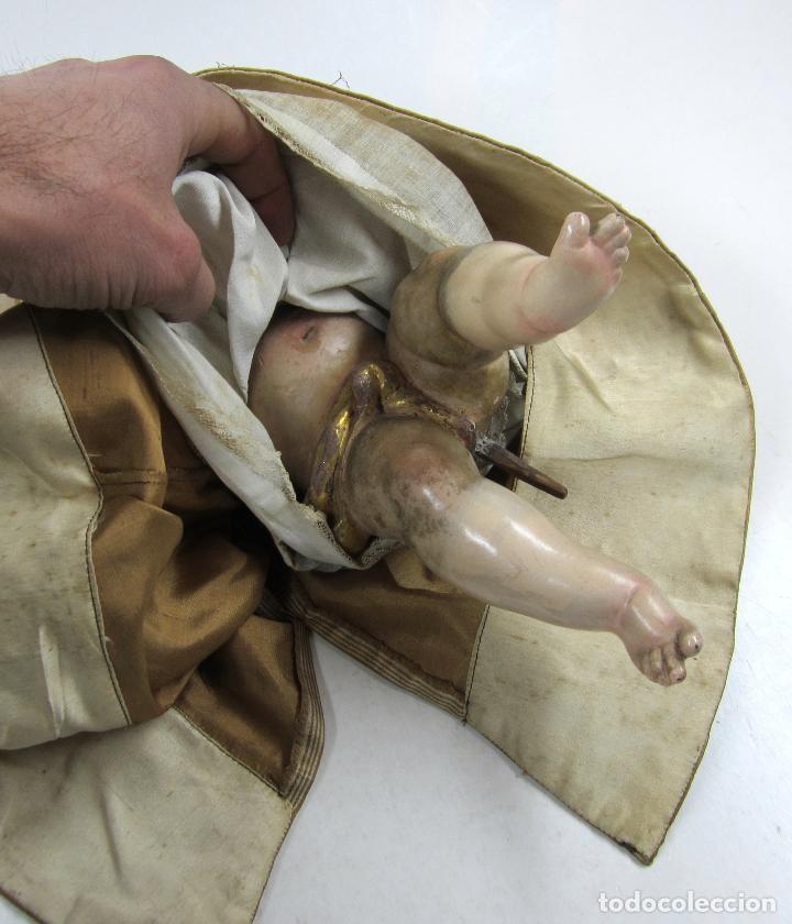 Arte: Extraordinaria virgen del carmen con niño finales siglo XVIII de gran tamaño. - Foto 3 - 112504187